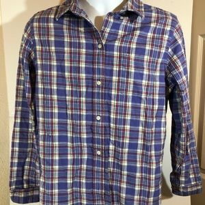 LL Bean Cotton Plaid Flannel L/S Large